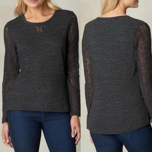 Prana grey lace long sleeved shirt size small